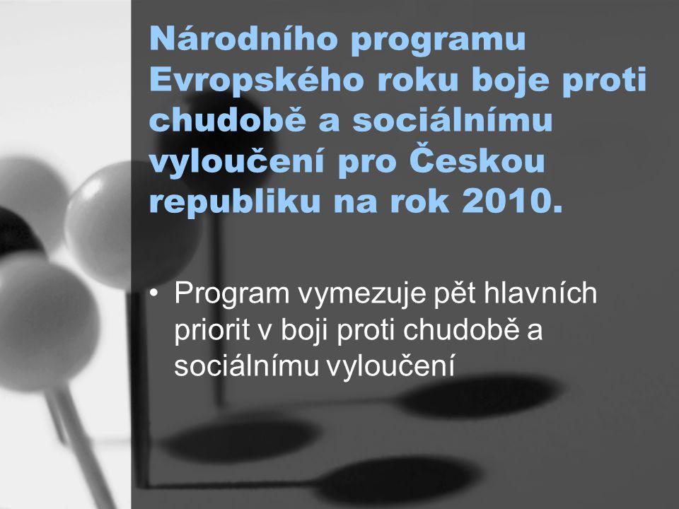 Národního programu Evropského roku boje proti chudobě a sociálnímu vyloučení pro Českou republiku na rok 2010.
