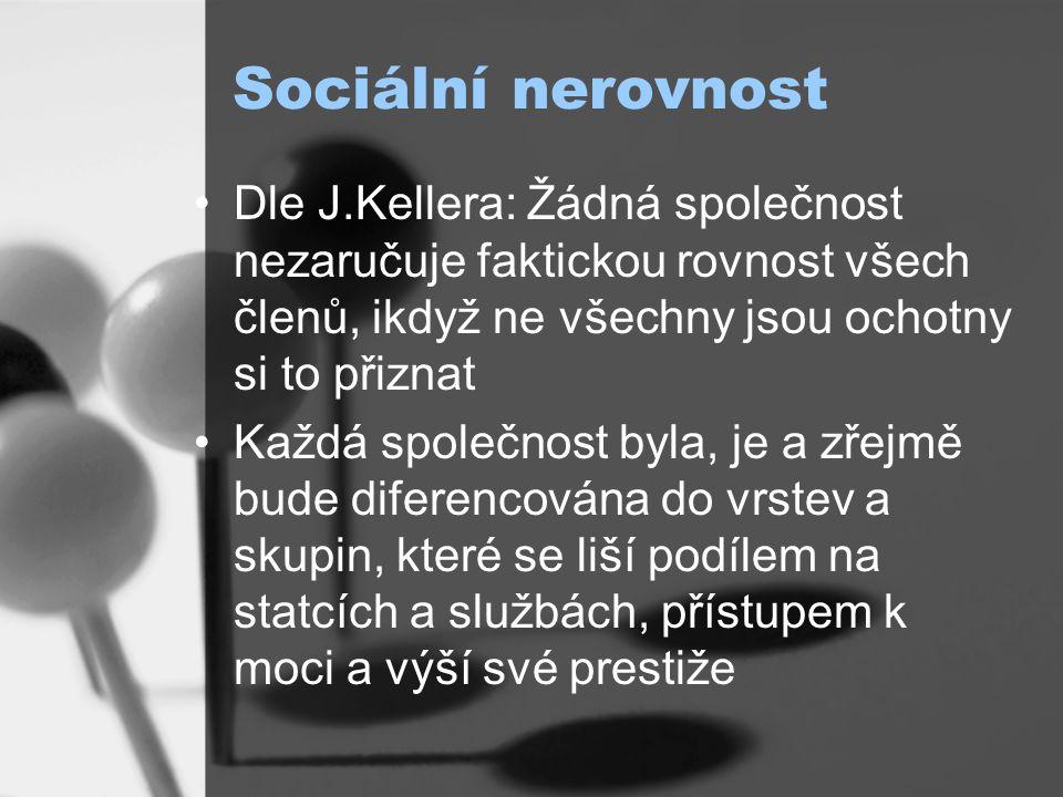 Sociální nerovnost Dle J.Kellera: Žádná společnost nezaručuje faktickou rovnost všech členů, ikdyž ne všechny jsou ochotny si to přiznat.