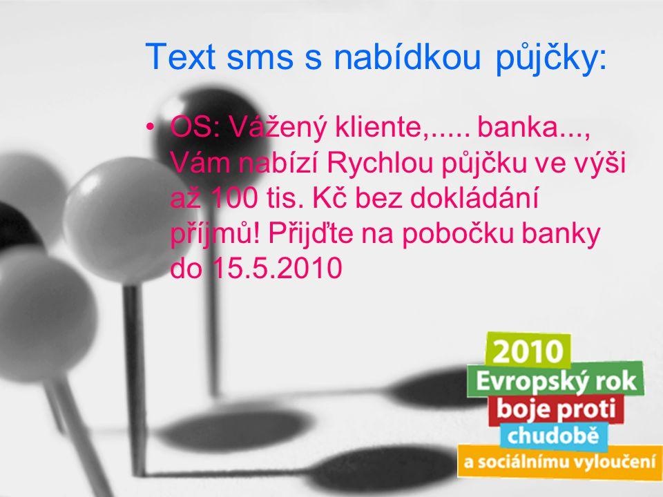 Text sms s nabídkou půjčky: