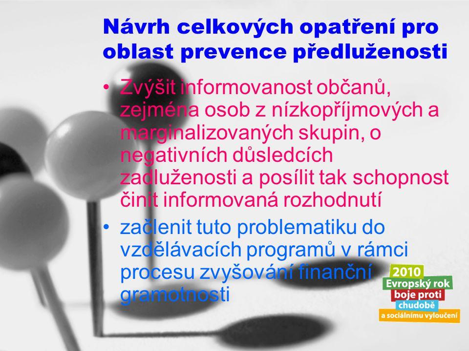 Návrh celkových opatření pro oblast prevence předluženosti
