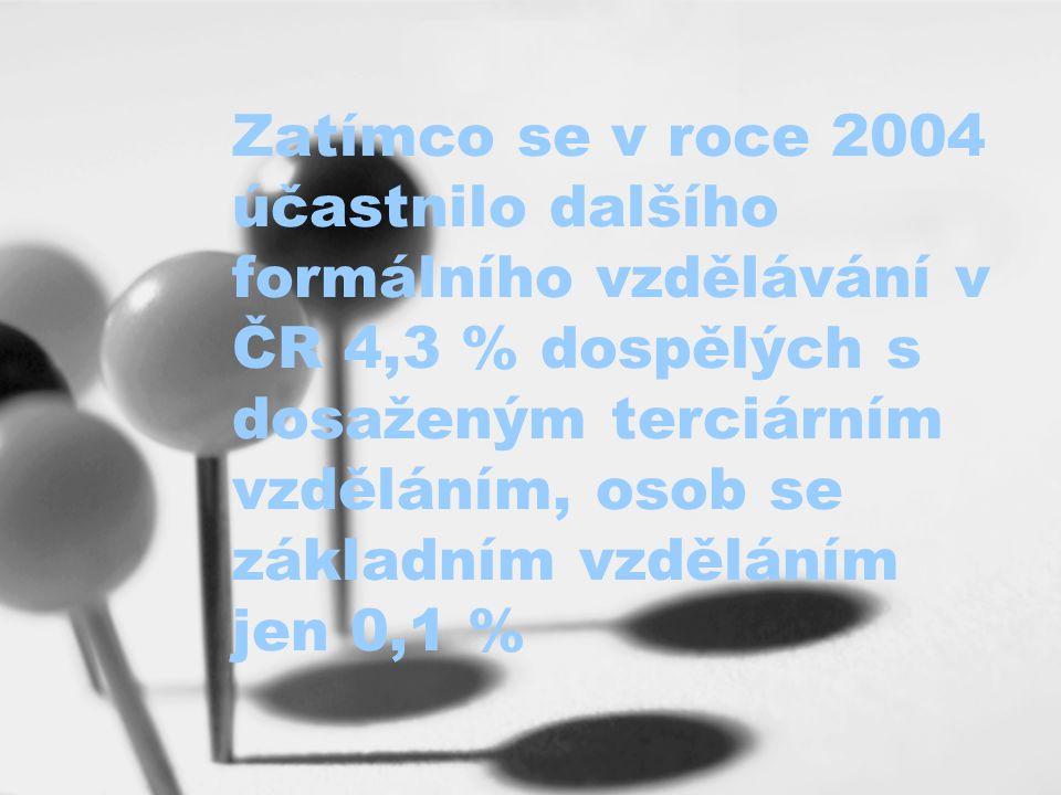 Zatímco se v roce 2004 účastnilo dalšího formálního vzdělávání v ČR 4,3 % dospělých s dosaženým terciárním vzděláním, osob se základním vzděláním jen 0,1 %