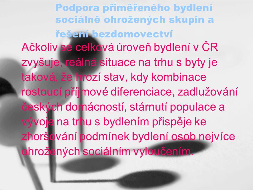 Ačkoliv se celková úroveň bydlení v ČR