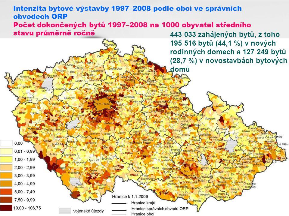 Intenzita bytové výstavby 1997–2008 podle obcí ve správních obvodech ORP Počet dokončených bytů 1997–2008 na 1000 obyvatel středního stavu průměrně ročně