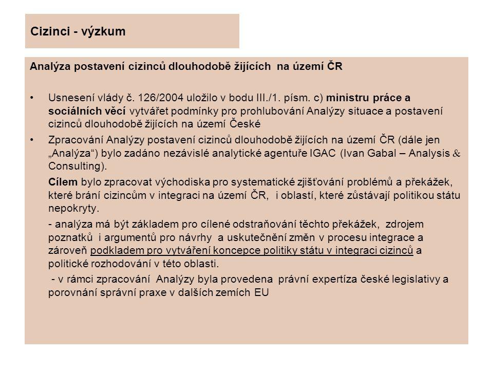 Cizinci - výzkum Analýza postavení cizinců dlouhodobě žijících na území ČR.