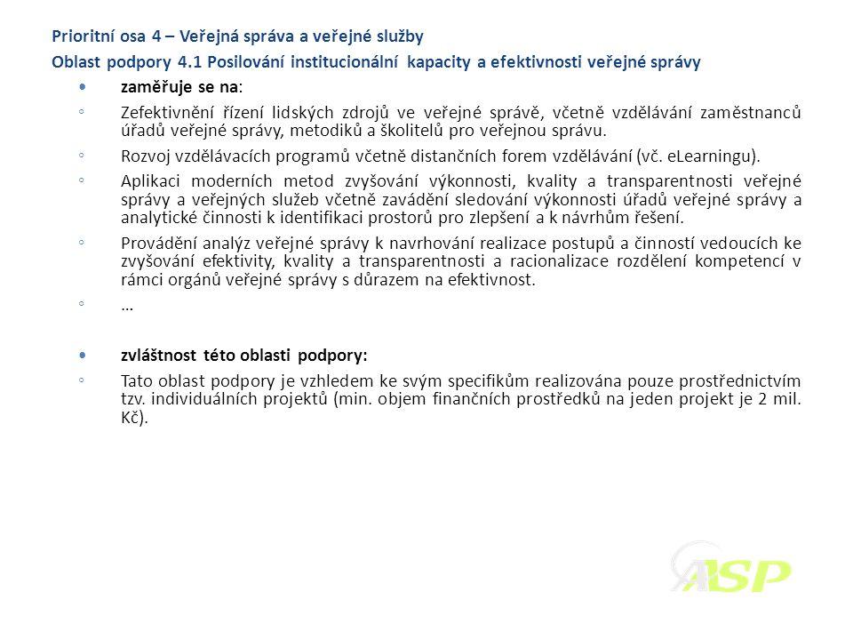Prioritní osa 4 – Veřejná správa a veřejné služby