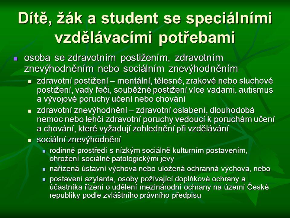 Dítě, žák a student se speciálními vzdělávacími potřebami