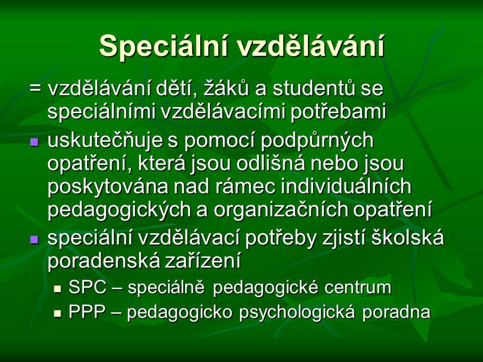 Speciální vzdělávání = vzdělávání dětí, žáků a studentů se speciálními vzdělávacími potřebami.