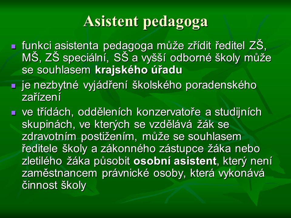Asistent pedagoga funkci asistenta pedagoga může zřídit ředitel ZŠ, MŠ, ZŠ speciální, SŠ a vyšší odborné školy může se souhlasem krajského úřadu.