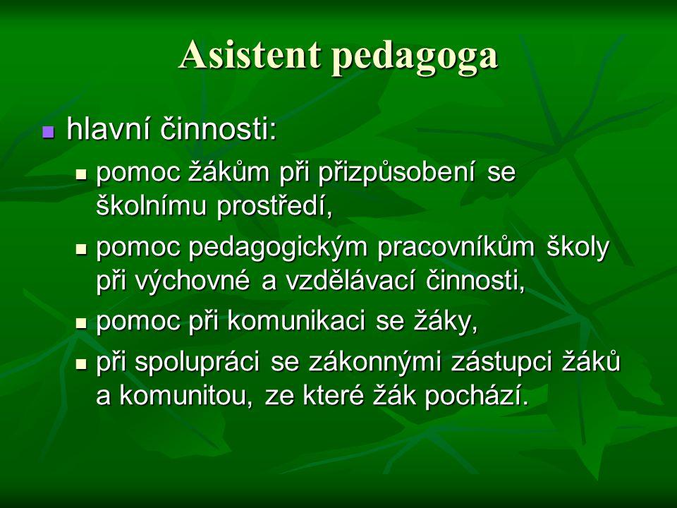 Asistent pedagoga hlavní činnosti: