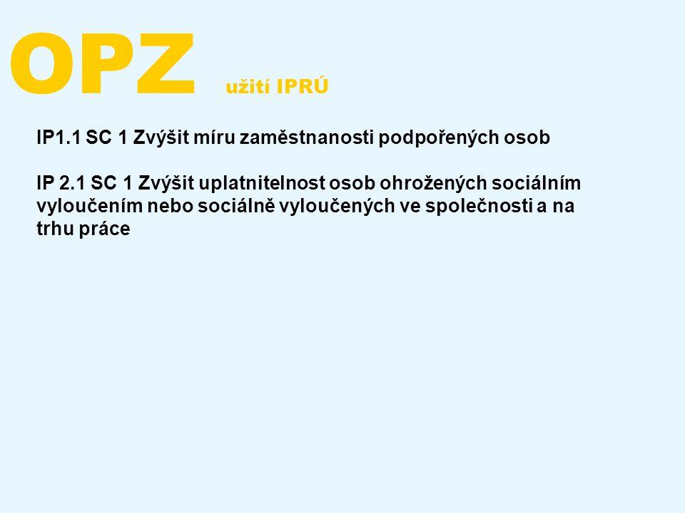 OPZ užití IPRÚ IP1.1 SC 1 Zvýšit míru zaměstnanosti podpořených osob