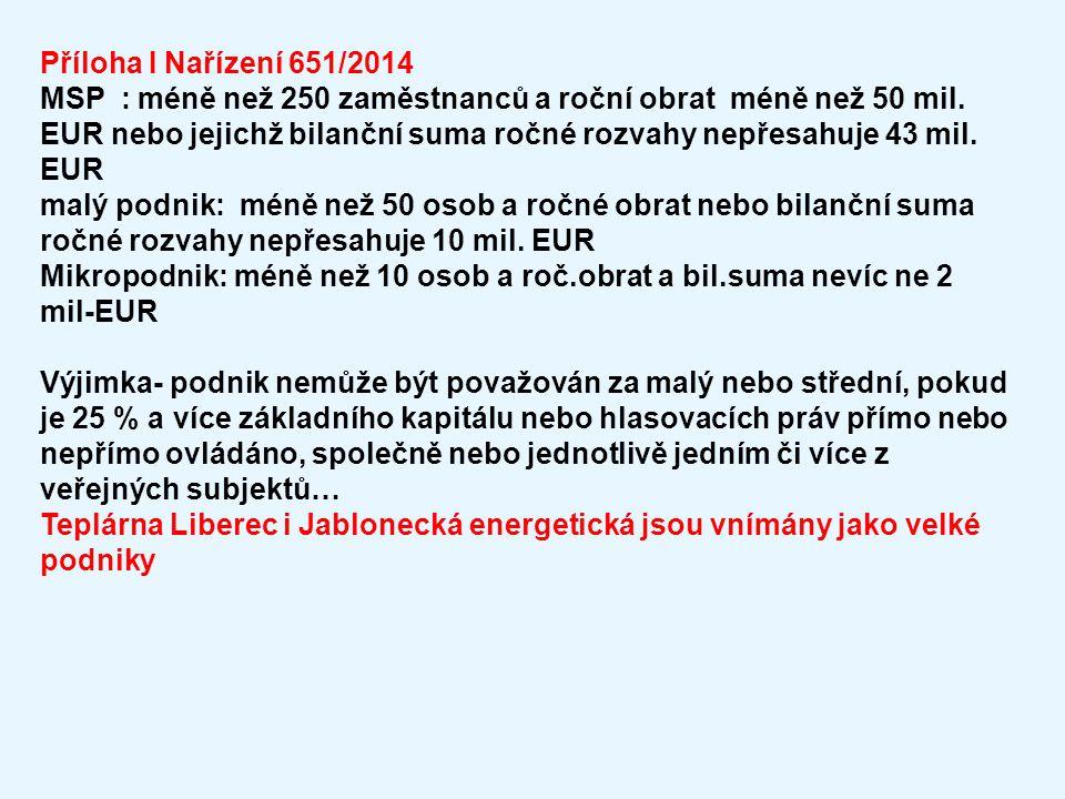 Příloha I Nařízení 651/2014