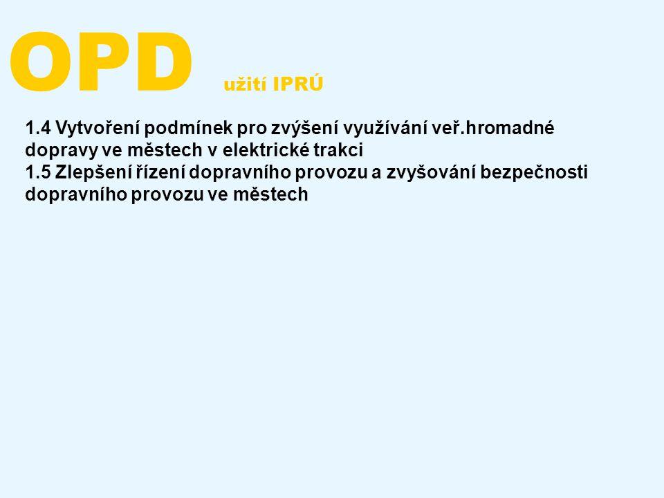 OPD užití IPRÚ 1.4 Vytvoření podmínek pro zvýšení využívání veř.hromadné dopravy ve městech v elektrické trakci.