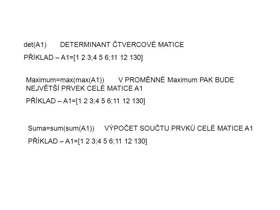 det(A1) DETERMINANT ČTVERCOVÉ MATICE