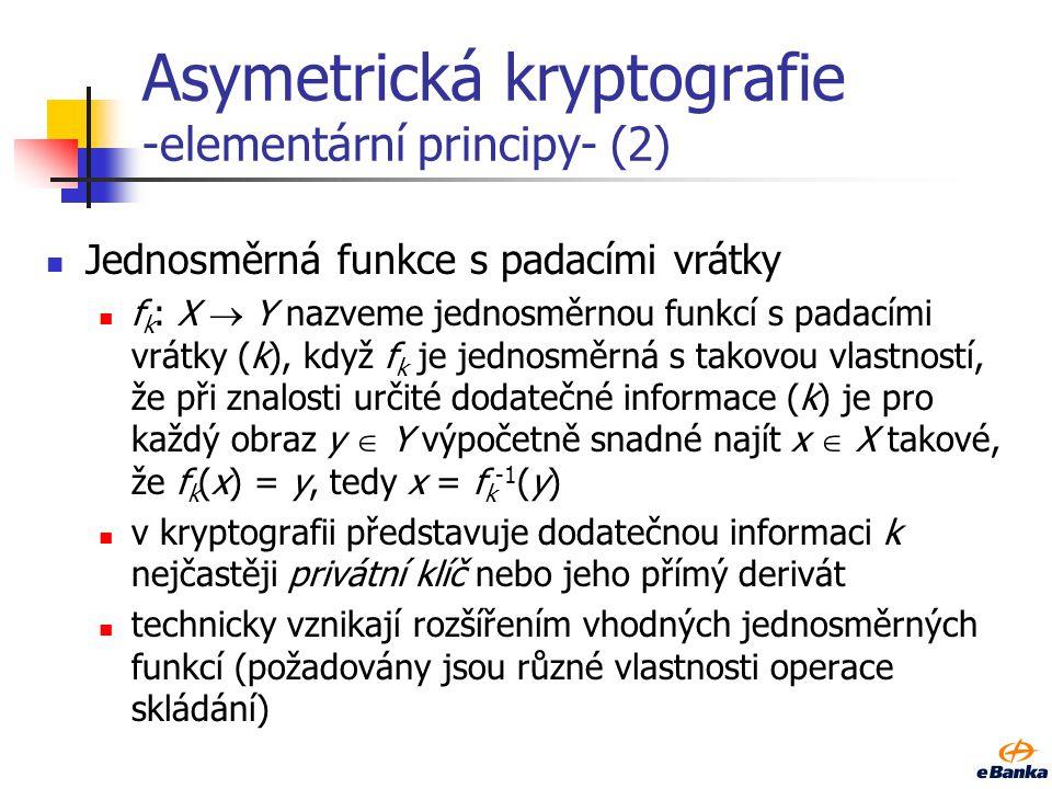 Asymetrická kryptografie -elementární principy- (2)