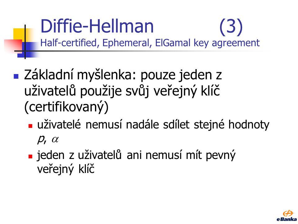 Diffie-Hellman (3) Half-certified, Ephemeral, ElGamal key agreement