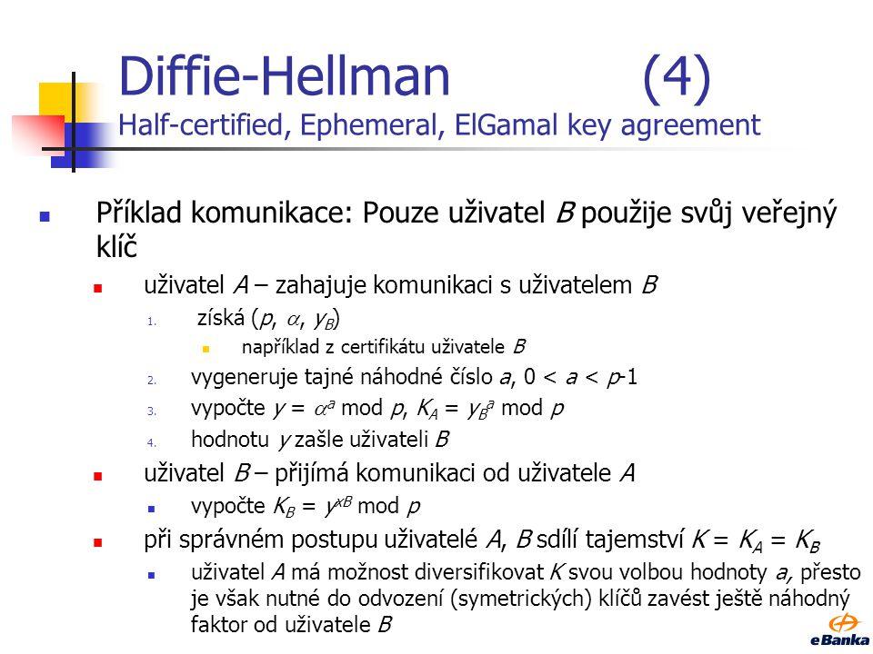 Diffie-Hellman (4) Half-certified, Ephemeral, ElGamal key agreement
