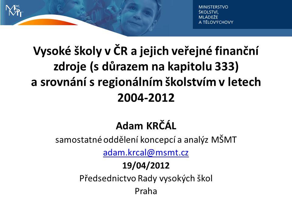Vysoké školy v ČR a jejich veřejné finanční zdroje (s důrazem na kapitolu 333) a srovnání s regionálním školstvím v letech 2004-2012