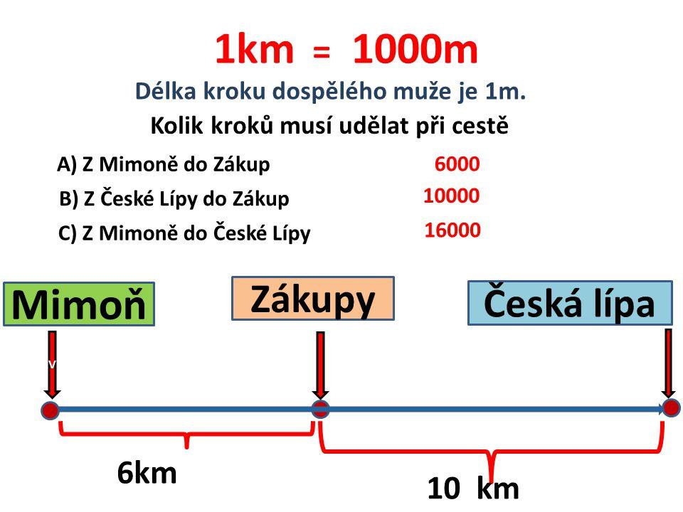 1km = 1000m Mimoň Zákupy Česká lípa 6km 10 km