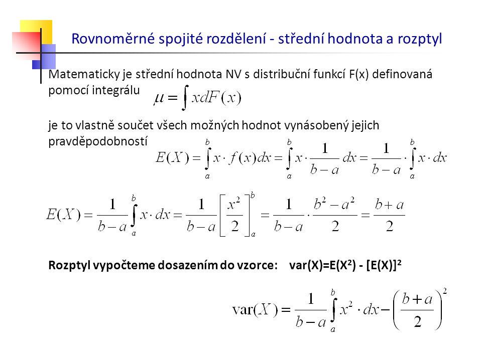 Rovnoměrné spojité rozdělení - střední hodnota a rozptyl