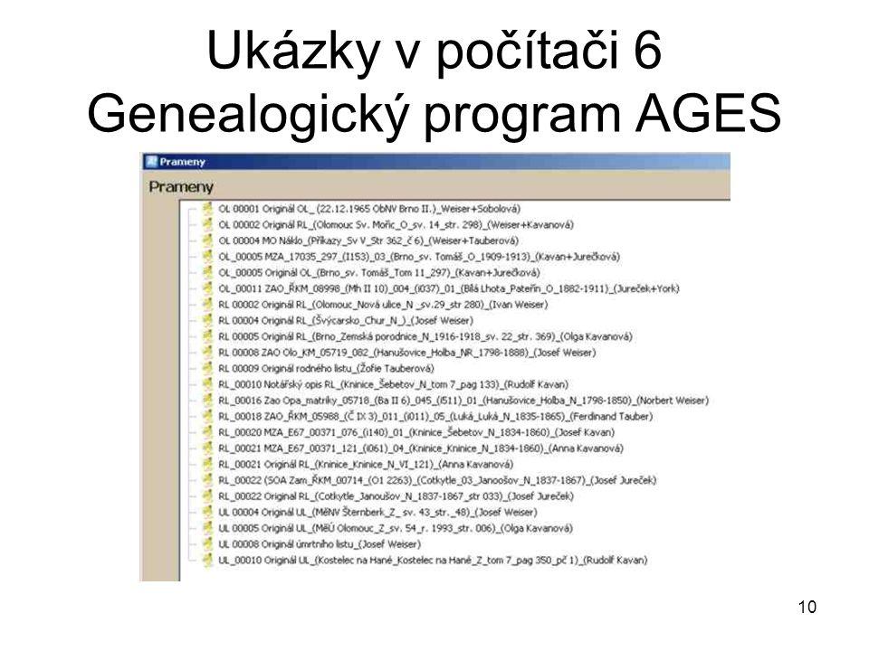 Ukázky v počítači 6 Genealogický program AGES