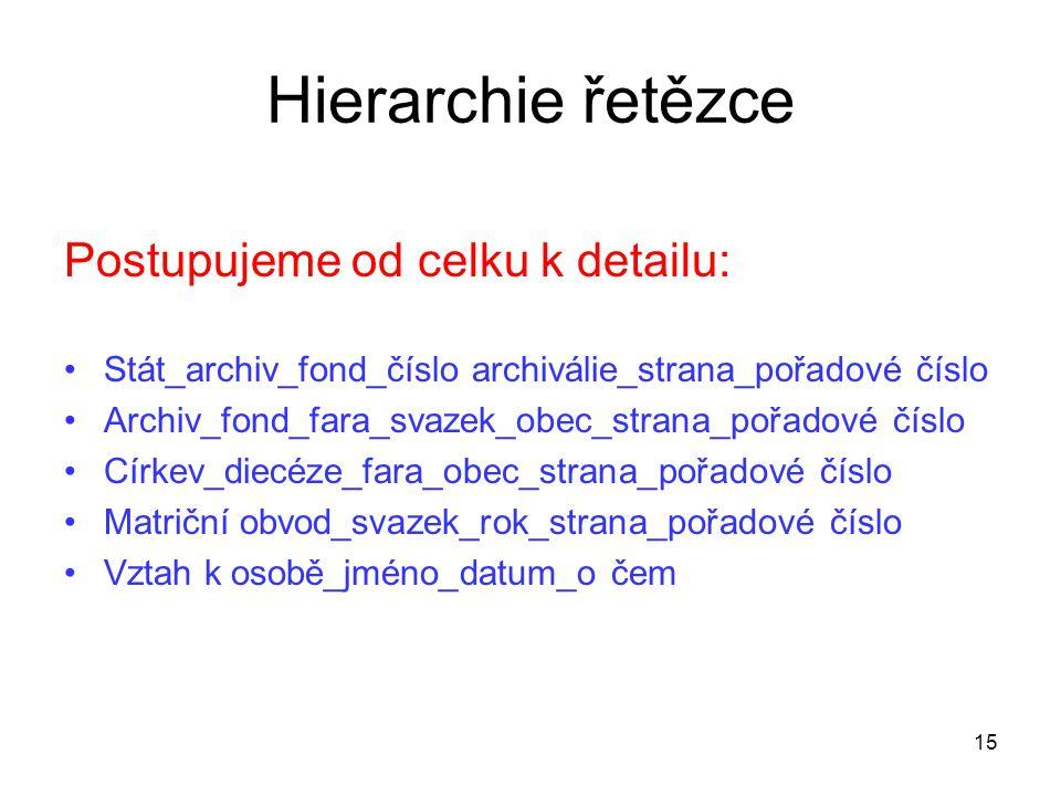 Hierarchie řetězce Postupujeme od celku k detailu: