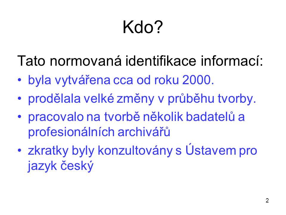 Kdo Tato normovaná identifikace informací: