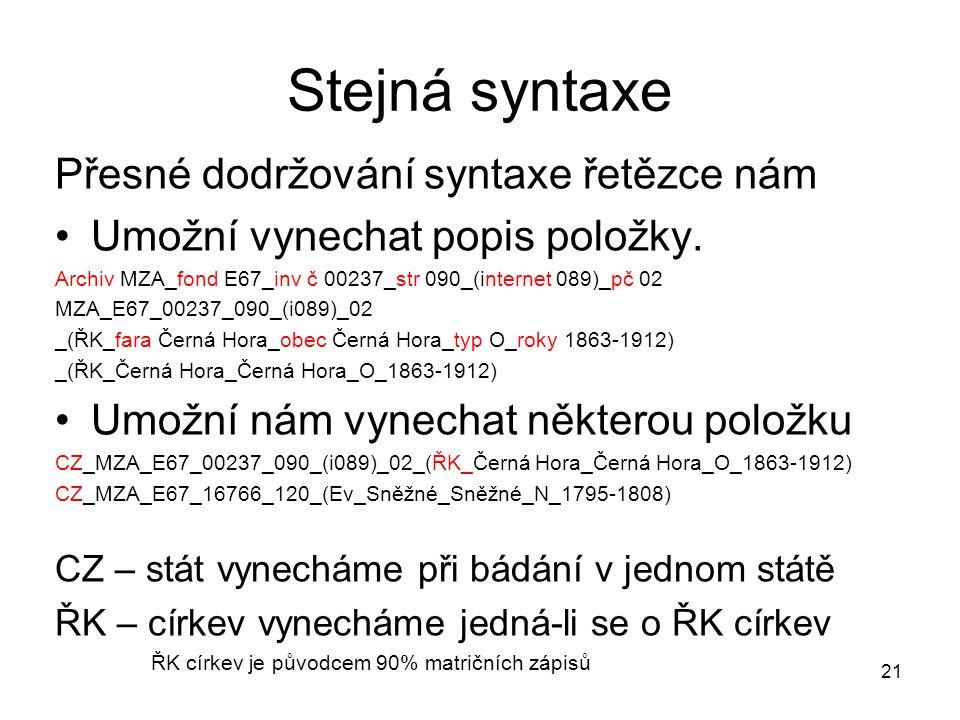Stejná syntaxe Přesné dodržování syntaxe řetězce nám
