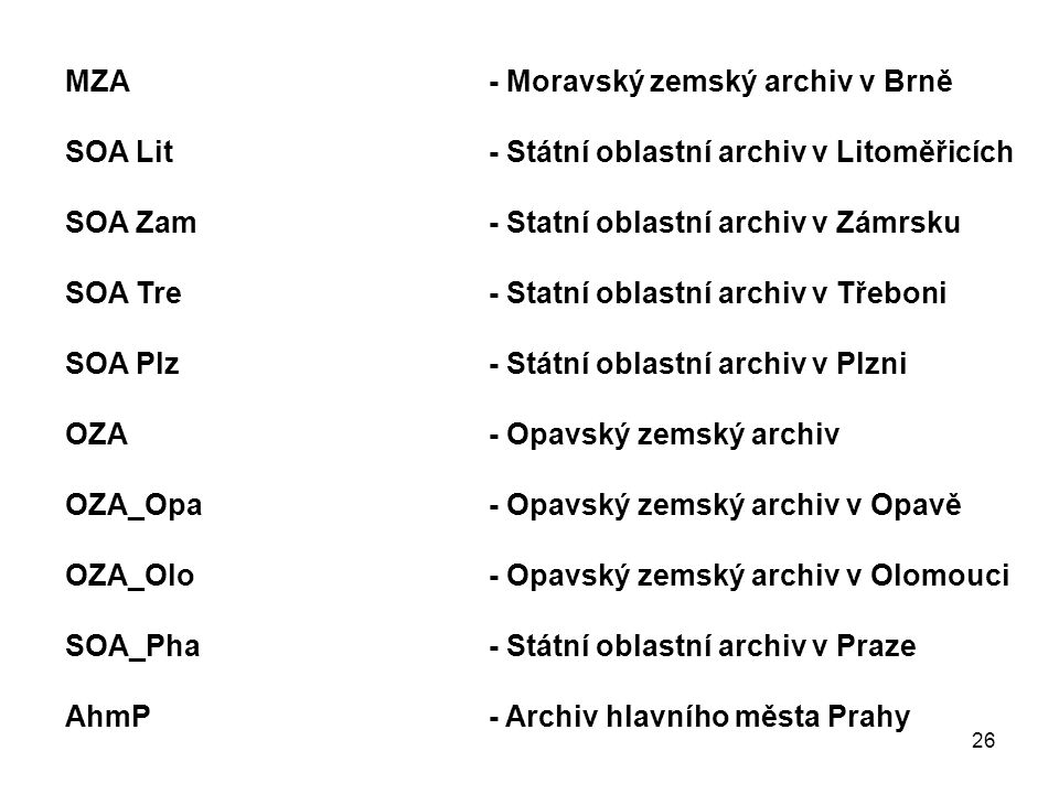 MZA - Moravský zemský archiv v Brně