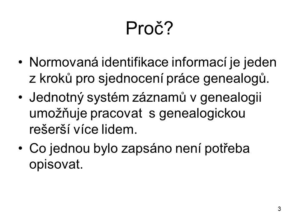 Proč Normovaná identifikace informací je jeden z kroků pro sjednocení práce genealogů.