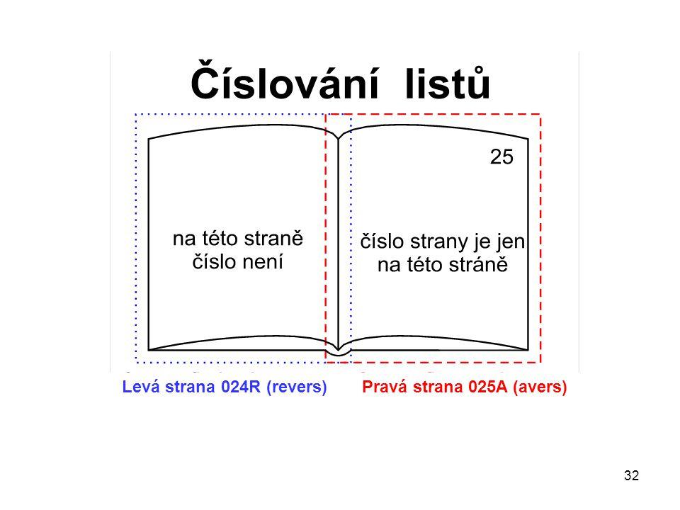 Levá strana 024R (revers) Pravá strana 025A (avers)