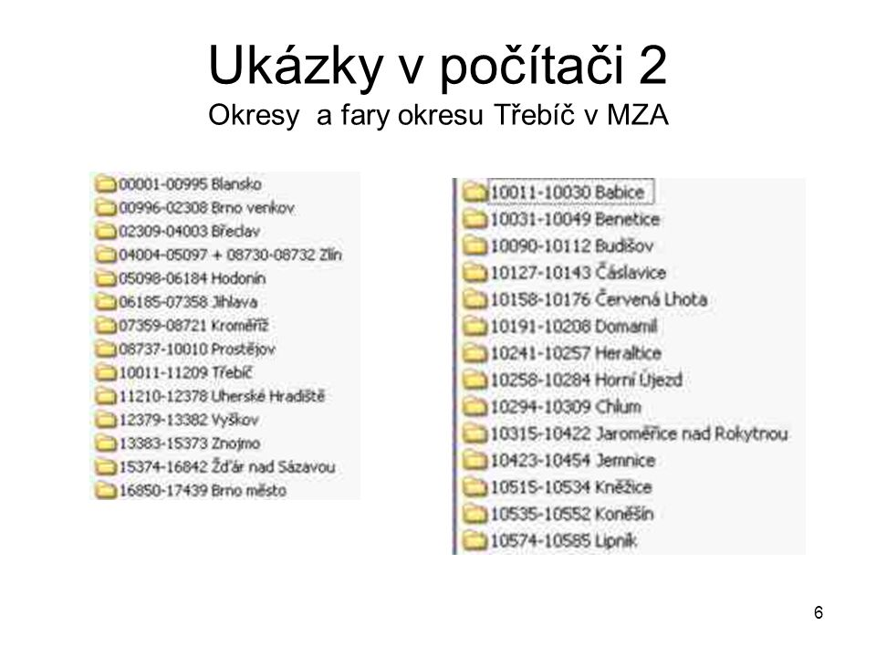 Ukázky v počítači 2 Okresy a fary okresu Třebíč v MZA
