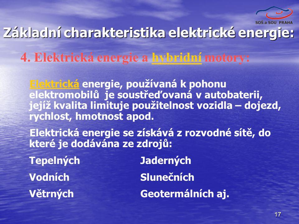 Základní charakteristika elektrické energie: