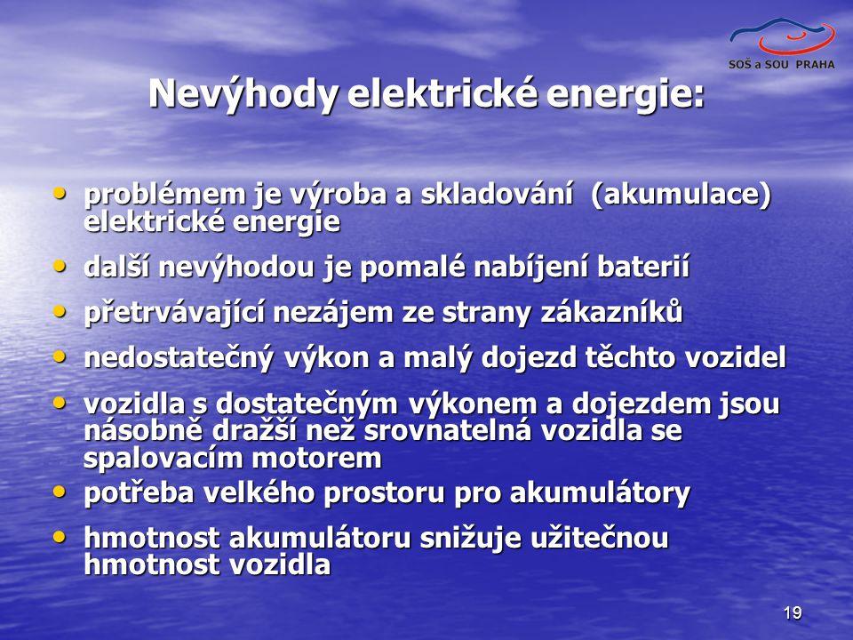 Nevýhody elektrické energie: