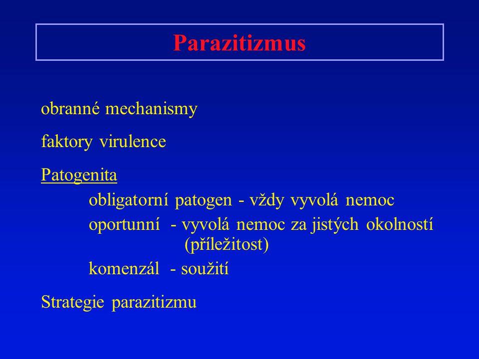 Parazitizmus obranné mechanismy faktory virulence Patogenita