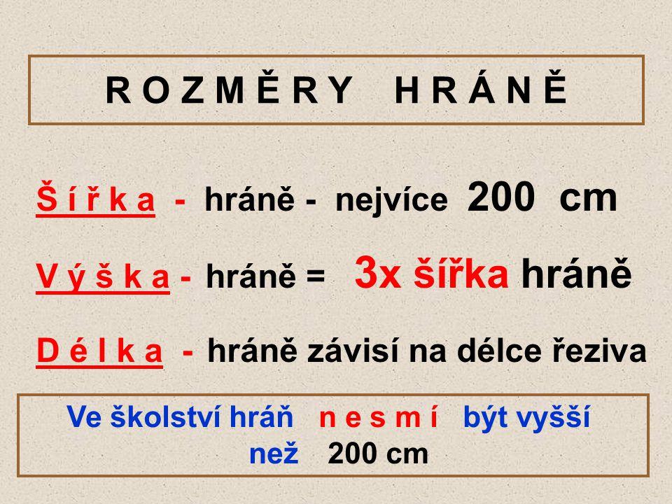 R O Z M Ě R Y H R Á N Ě Š í ř k a - hráně - nejvíce 200 cm