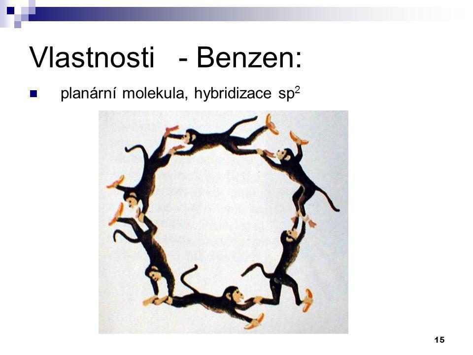 Vlastnosti - Benzen: planární molekula, hybridizace sp2