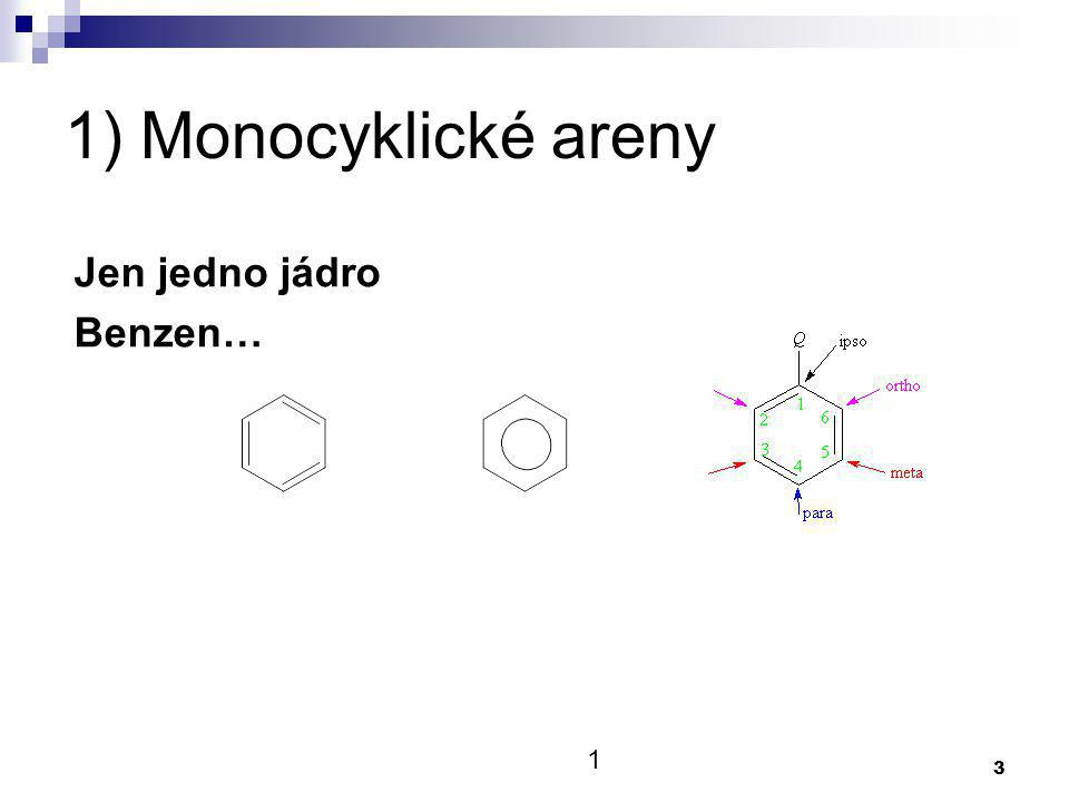 1) Monocyklické areny Jen jedno jádro Benzen… 1