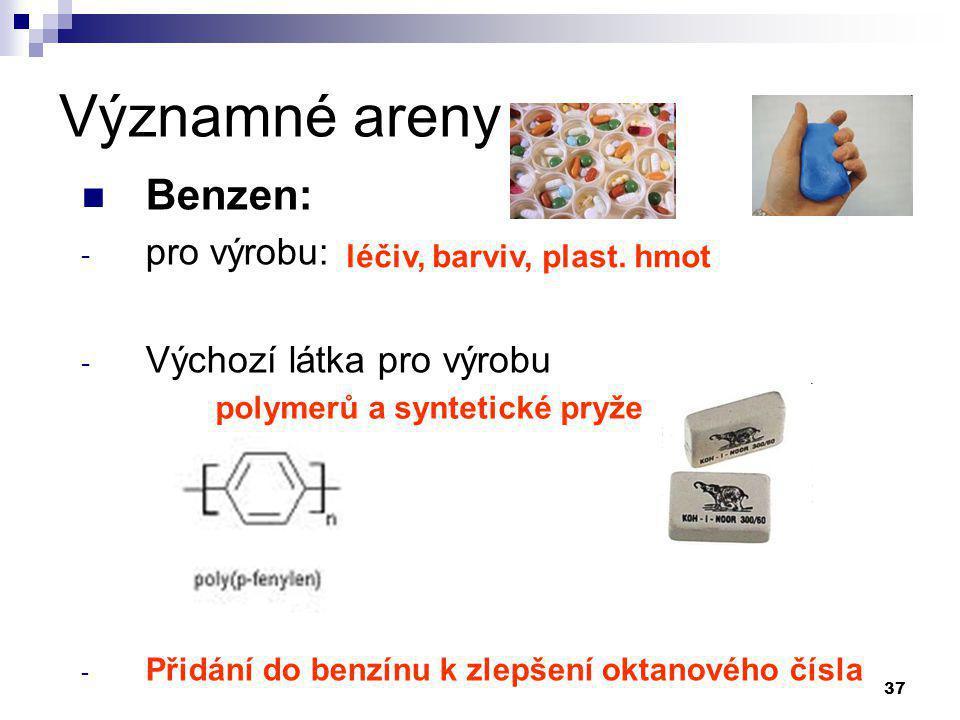 Významné areny Benzen: pro výrobu: Výchozí látka pro výrobu