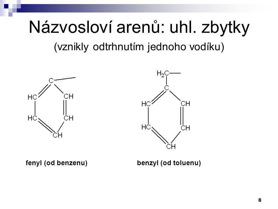 Názvosloví arenů: uhl. zbytky (vznikly odtrhnutím jednoho vodíku)