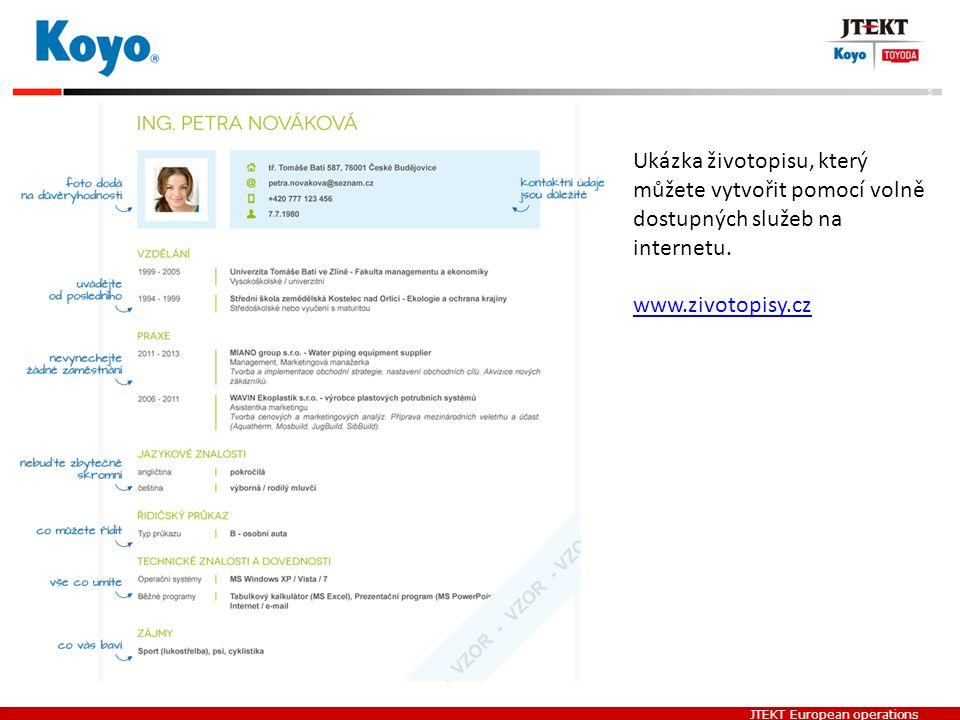 Ukázka životopisu, který můžete vytvořit pomocí volně dostupných služeb na internetu.