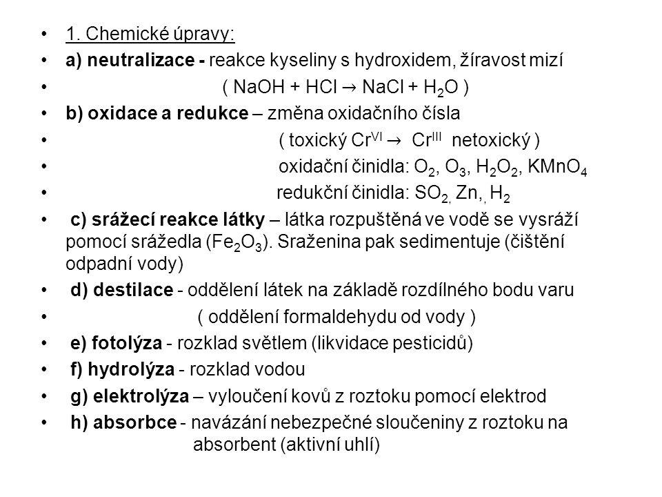 1. Chemické úpravy: a) neutralizace - reakce kyseliny s hydroxidem, žíravost mizí. ( NaOH + HCl → NaCl + H2O )