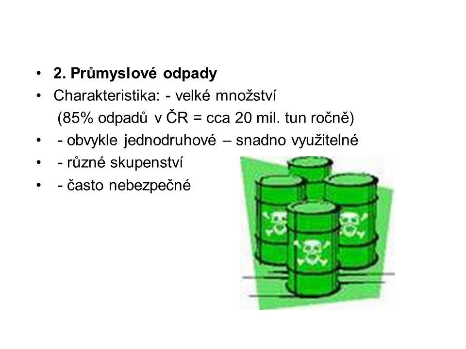 2. Průmyslové odpady Charakteristika: - velké množství. (85% odpadů v ČR = cca 20 mil. tun ročně) - obvykle jednodruhové – snadno využitelné.