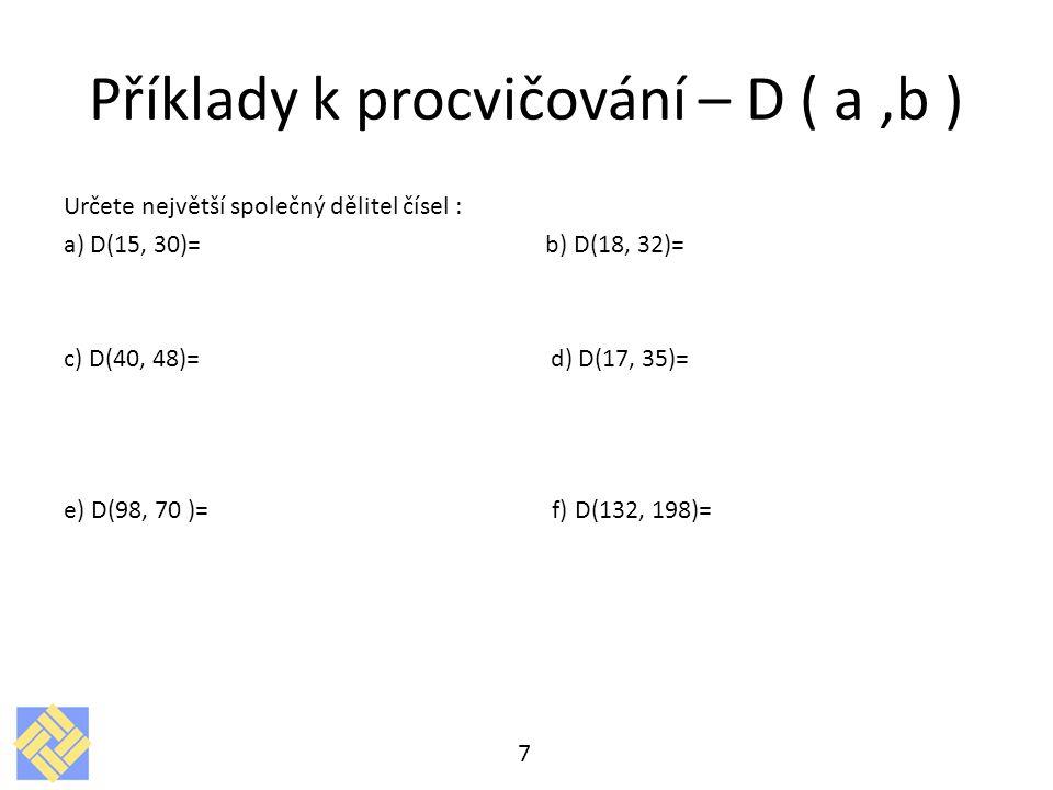 Příklady k procvičování – D ( a ,b )