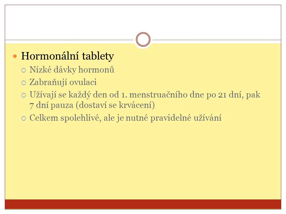 Hormonální tablety Nízké dávky hormonů Zabraňují ovulaci