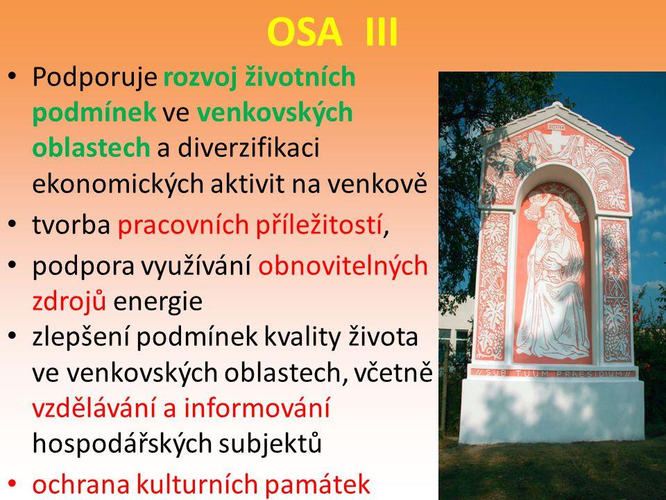 OSA III Podporuje rozvoj životních podmínek ve venkovských
