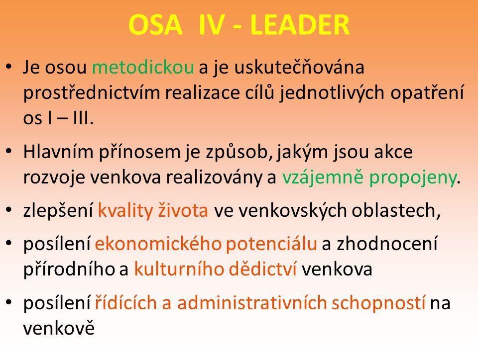 OSA IV - LEADER Je osou metodickou a je uskutečňována prostřednictvím realizace cílů jednotlivých opatření os I – III.