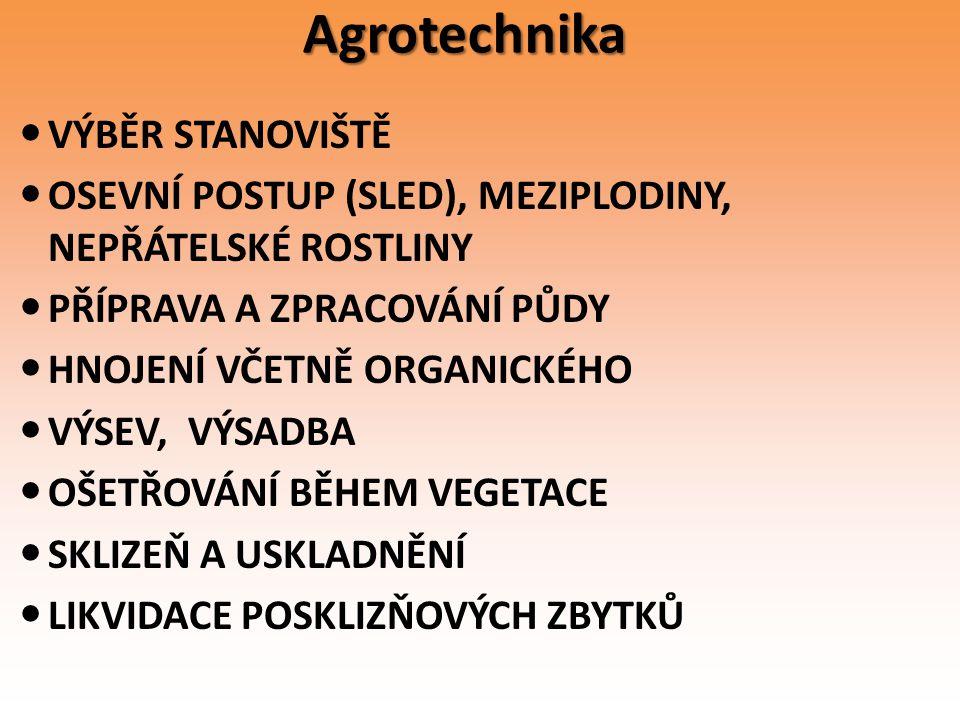 Agrotechnika VÝBĚR STANOVIŠTĚ