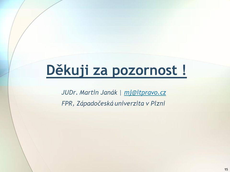 Děkuji za pozornost ! JUDr. Martin Janák | mj@itpravo.cz