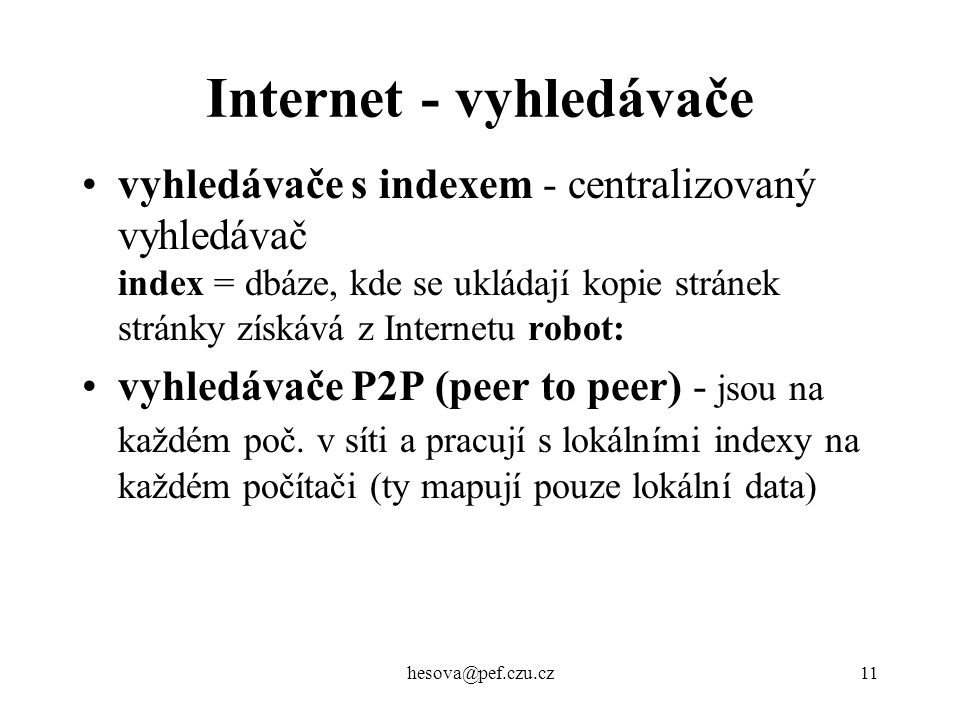 Internet - vyhledávače