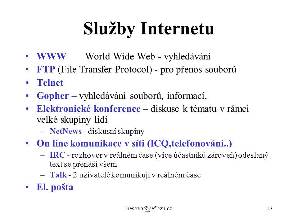 Služby Internetu WWW World Wide Web - vyhledávání